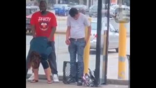Savage black man fucking white slut in public